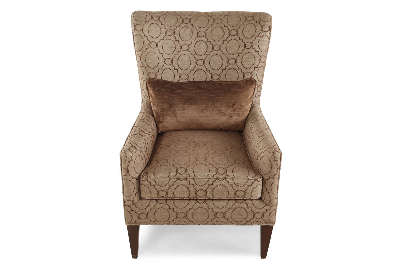 Transitional trellis patterned 30 wing chair in brown for Patterned living room chair
