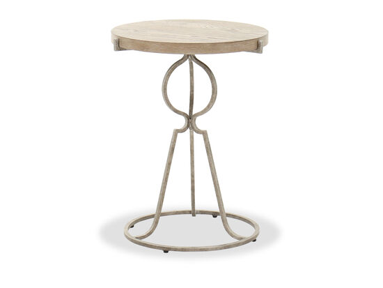 Traditional Round End Table in Sand