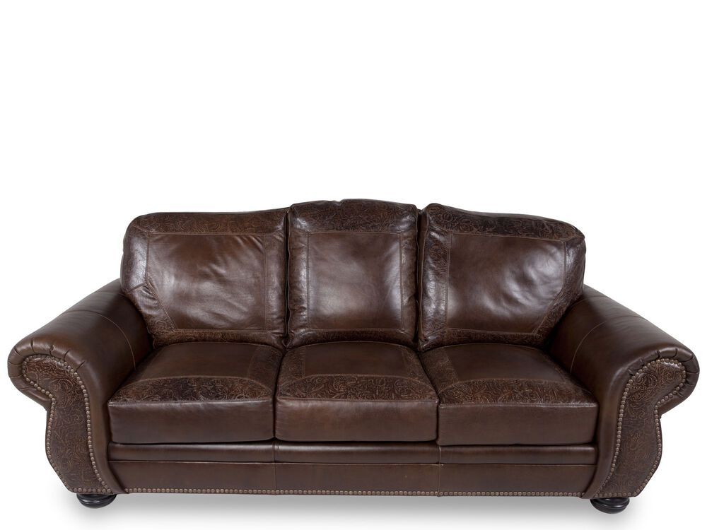 Paisley Printed Leather 94 Sofa In