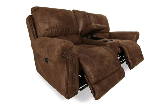 """Double Reclining Microfiber 79"""" Loveseat with Console in Medium Brown"""