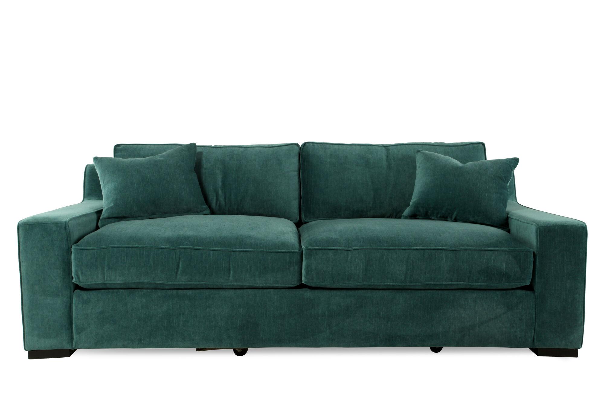 Low Profile Microfiber 38 Sofa In Emerald Green Mathis Brothers Furniture