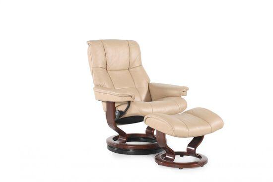 Contemporary Medium Chair and Ottoman in Cream