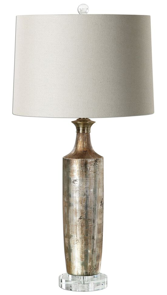 Textured Ceramic Base Lamp in Metallic Bronze