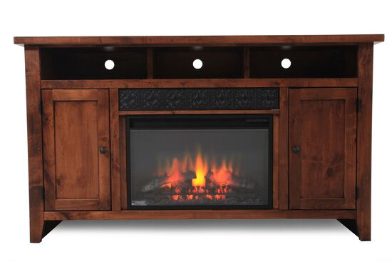 Adjustable Shelf Traditional Fireplace Console in Fruitwood