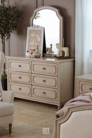 Two-Piece Transitional Youth Dresser & Mirror in Vintage Taupe