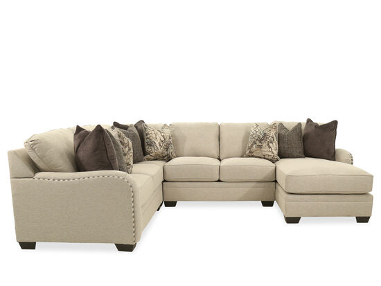 "Four-Piece Casual 127"" Sectional in Chalk"