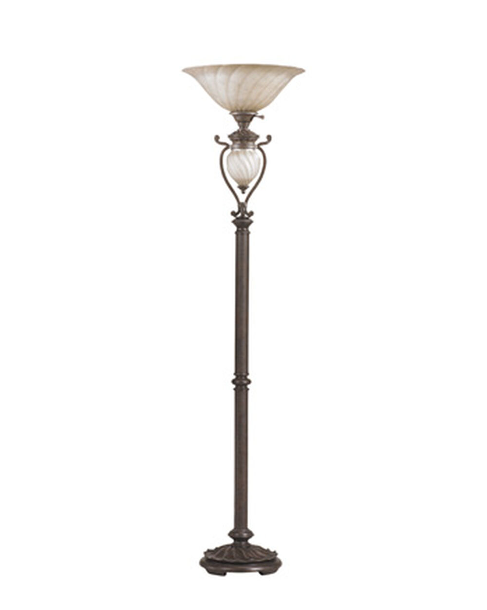 Transitional Glass Shade Torchiere Floor Lamp In Aged Brown Mathis