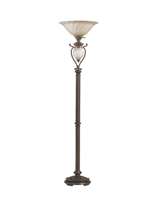 Transitional Glass-Shade Torchiere Floor Lamp in Aged Brown