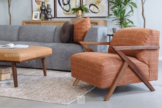 Casual Accent Chair in Orange