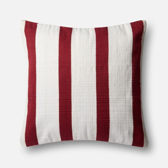 """22""""x22"""" Pillow Cover Only in Red/Ivory"""