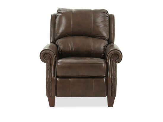 Nailhead Trimmed Leather 35'' Recliner in Brown