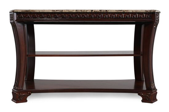 Two-Open Shelf Traditional Console Table in Dark Cherry