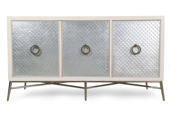 "36"" Scalloped-Trim Glamorous Media Chest in Alabaster"