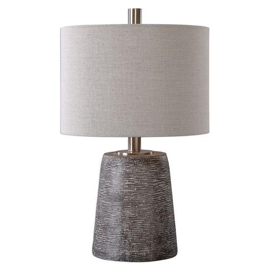 Textured Ceramic-Base Table Lamp in Rustic Bronze