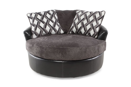 "Oversized Microfiber 58"" Swivel Accent Chair in Smoke Gray"