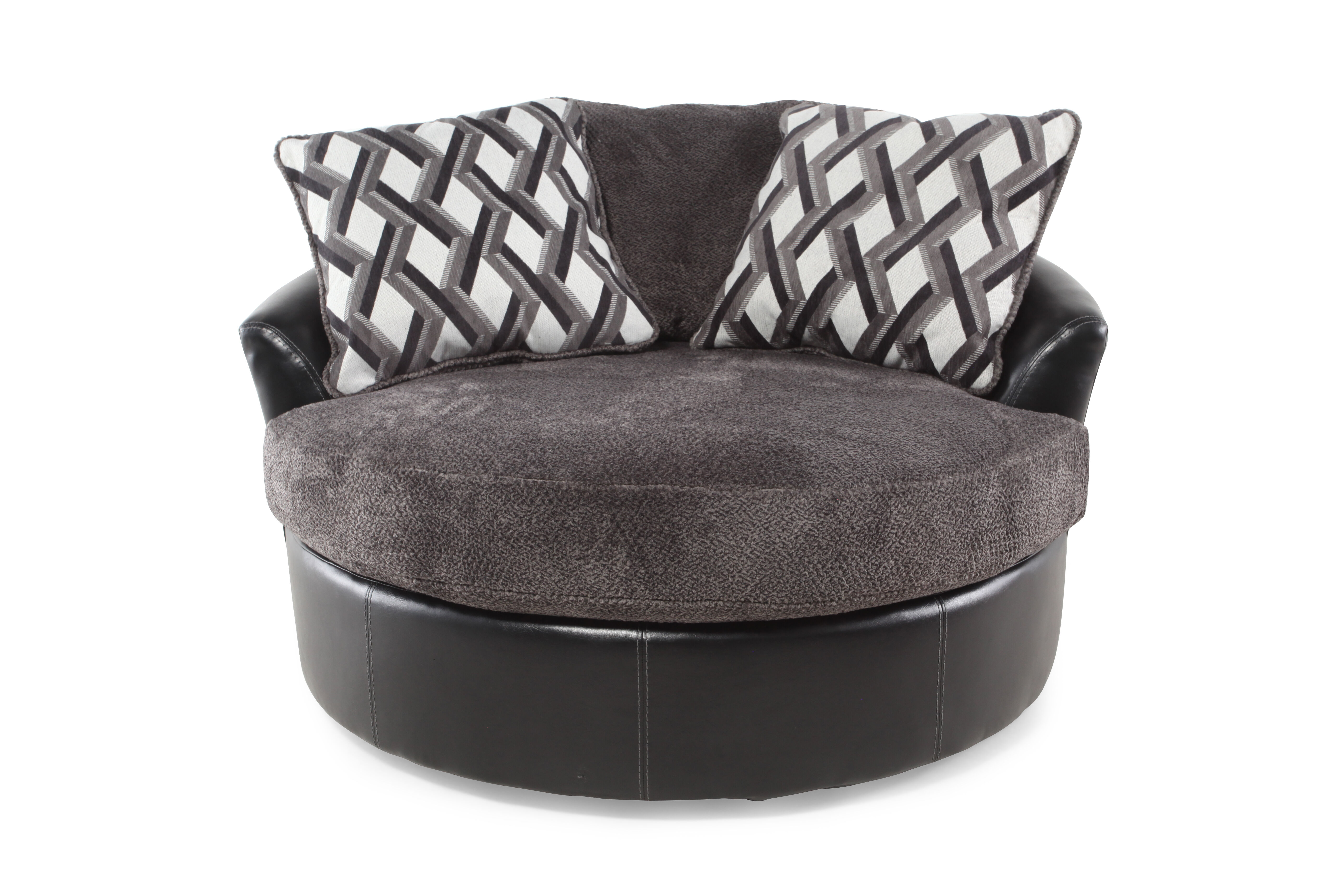 Images Oversized Microfiber 58u0026quot; Swivel Accent Chair In Smoke Gray