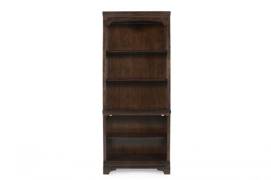 Traditional Adjustable Shelf Open Bookcase in Dark Brown