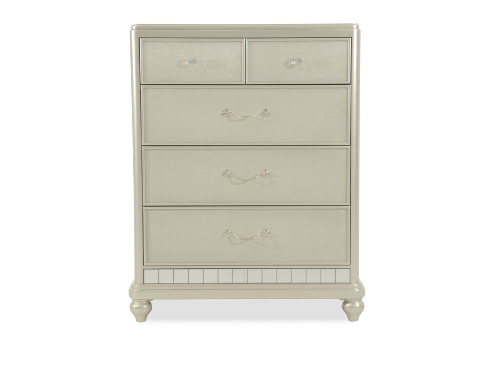 Five-Drawer Contemporary Youth Chest in Silver