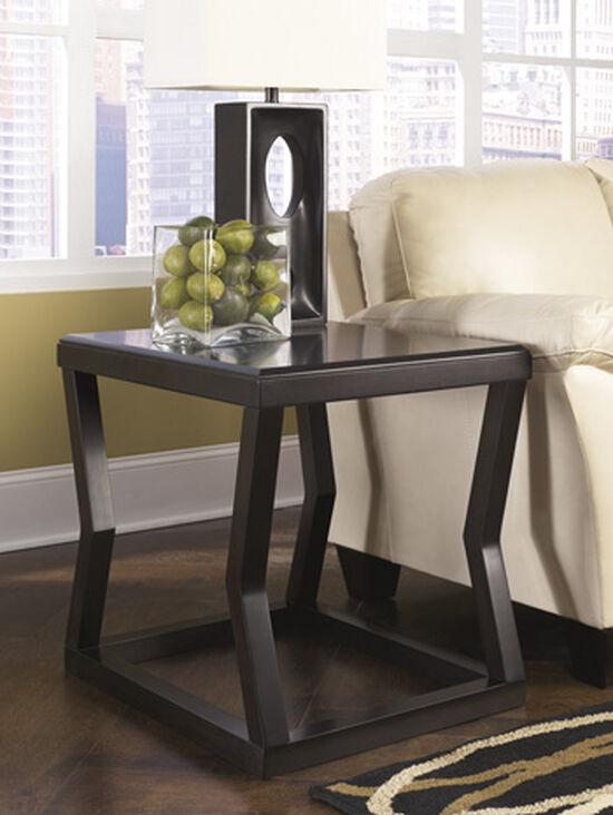 Glass-Top Contemporary End Table in Dark Espresso