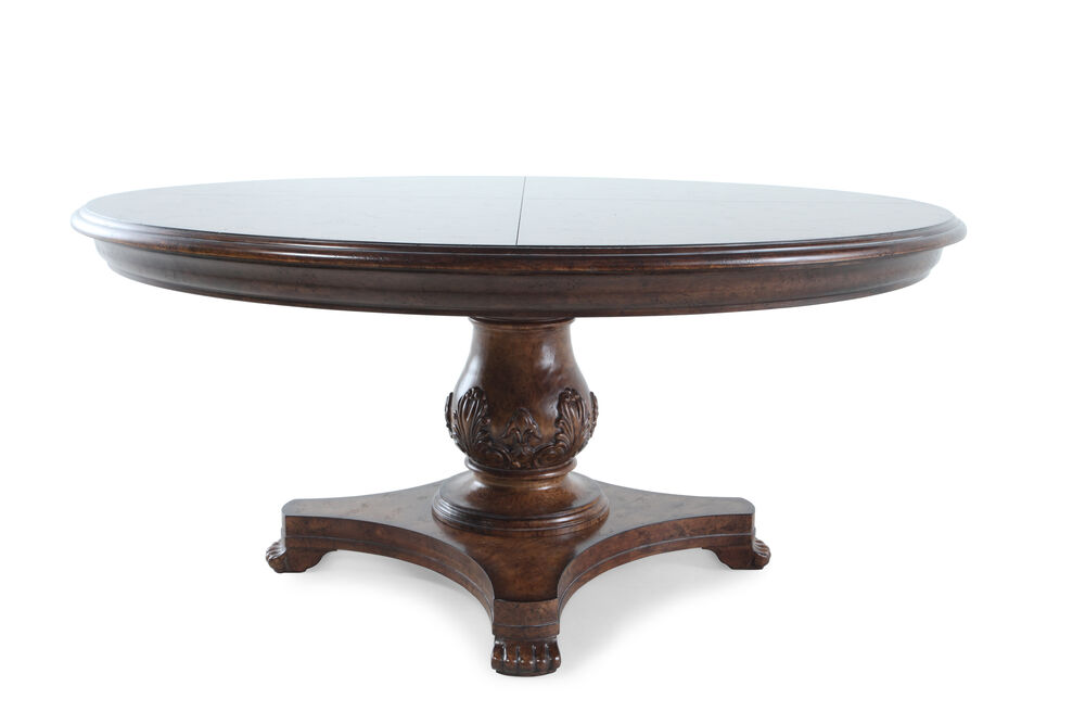 Images Traditional 66 Round Dining Table In Vintage Melange