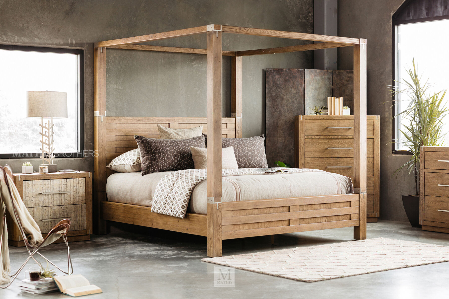 ... Four-Piece Modern Canopy Bedroom Set in Brown ... & Four-Piece Modern Canopy Bedroom Set in Brown | Mathis Brothers ...