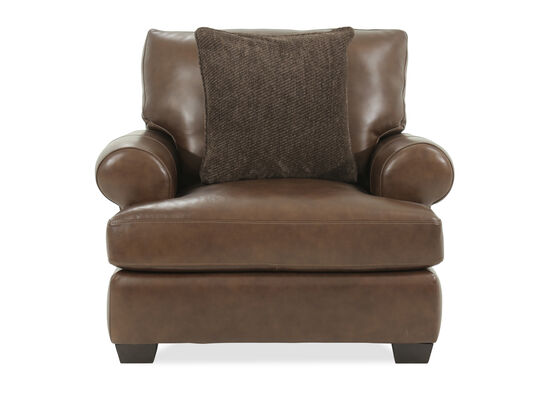 "Traditional Leather 44.5"" Chair in Brown"
