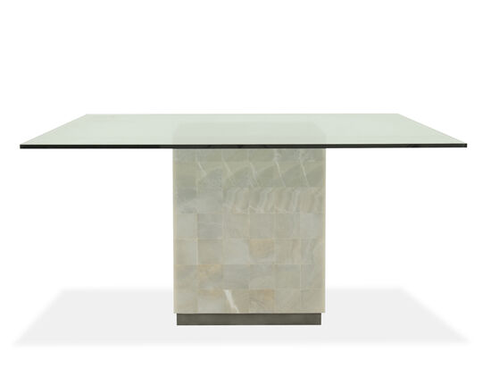 "Contemporary 60"" Glass Top Dining Table in Antique Pewter"