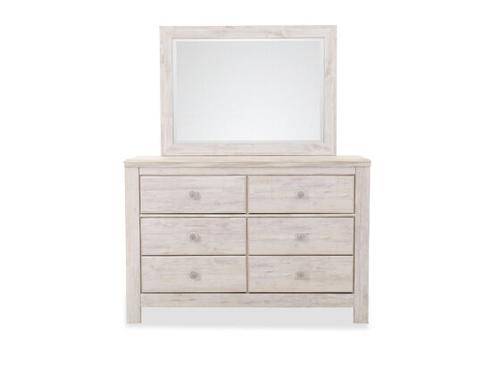 Traditional Six-Drawer Dresser and Mirror in White