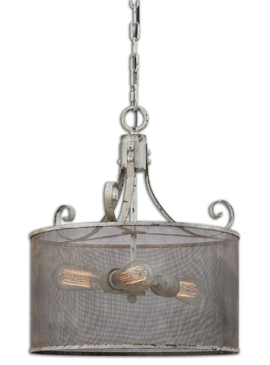 Three-Bulb Screen Shade Pendant Light in Distressed Antiqued Ivory