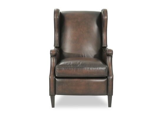 "Leather 29"" Pressback Recliner in Brown"