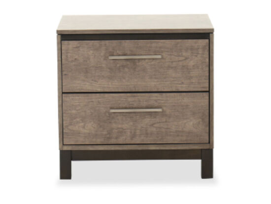 "23"" Two-Drawer Wood Nightstand in Brown"