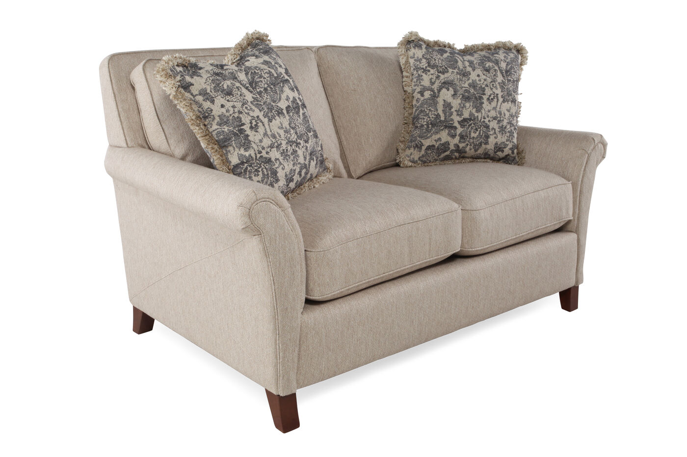 Textured traditional 63 loveseat in honey brown mathis for Traditional loveseat