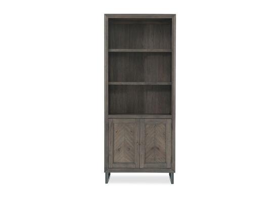 Two-Door Mid-Century Modern Adjustable Shelf Bookcase in Dark Brown