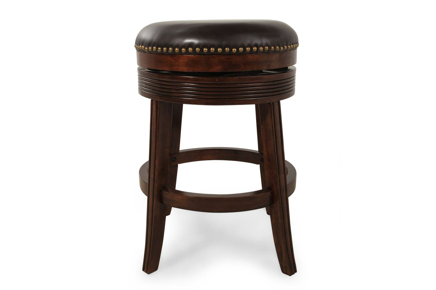 Nailhead Accented 26 Quot Swivel Bar Stool In Espresso