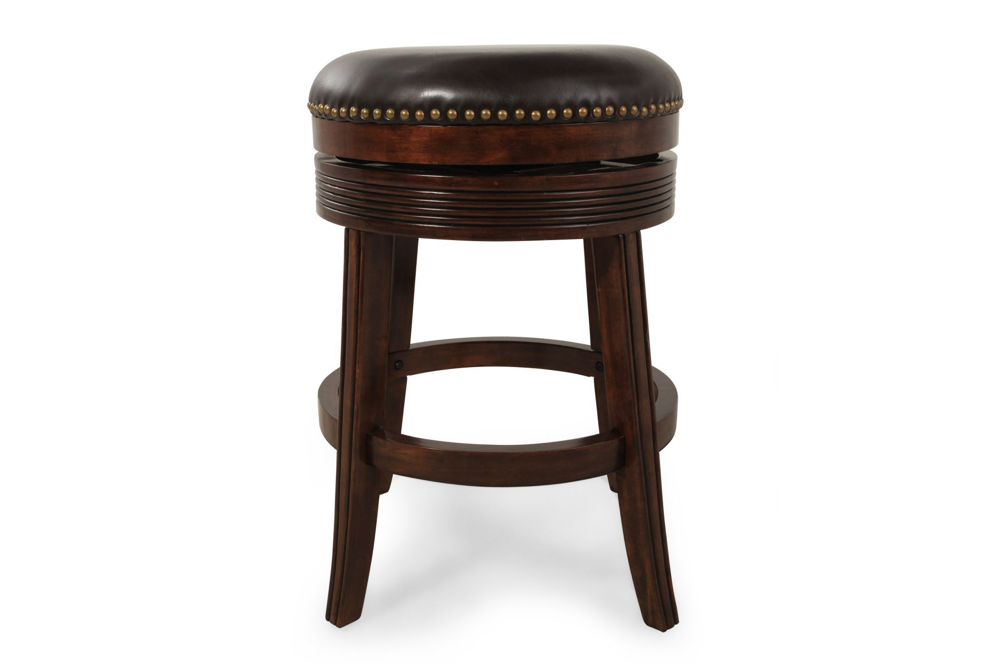 Nailhead Accented 26 Swivel Bar Stool In Espresso Mathis Brothers