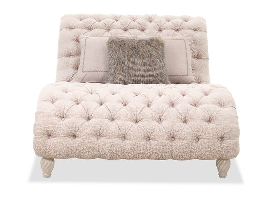 Button-Tufted Traditional 33'' Chaise Lounge in Beige