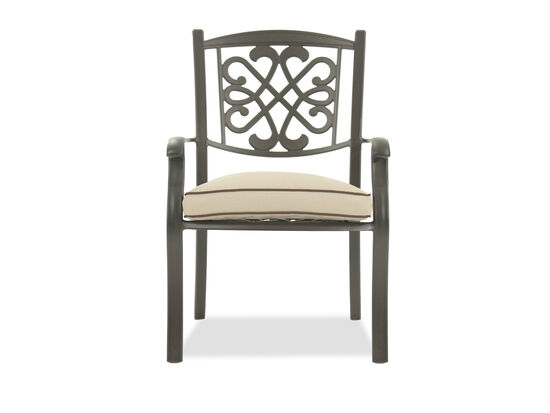 Scrollwork Aluminum Chair with Cushion in Dark Brown