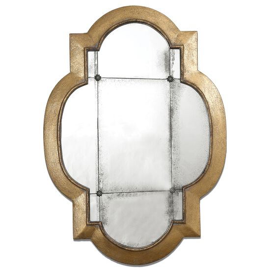 "40.5"" Moroccan Trellis Accent Mirror in Antiqued Gold Leaf"