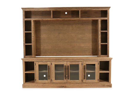 "Two-Piece Casual 97"" Console and Hutch in Glazed Oak"