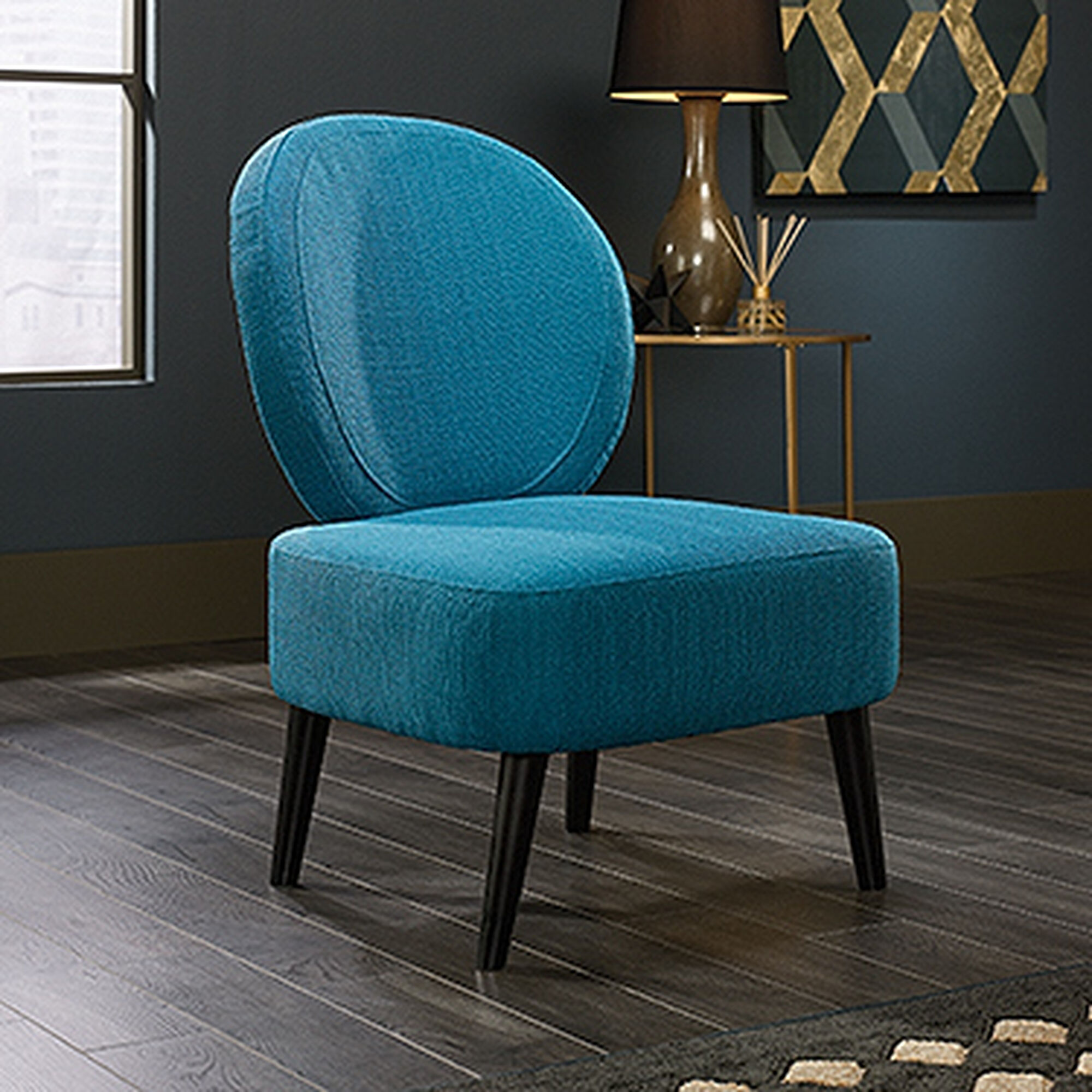 Contemporary 24 Quot Oval Back Accent Chair In Pacific Blue