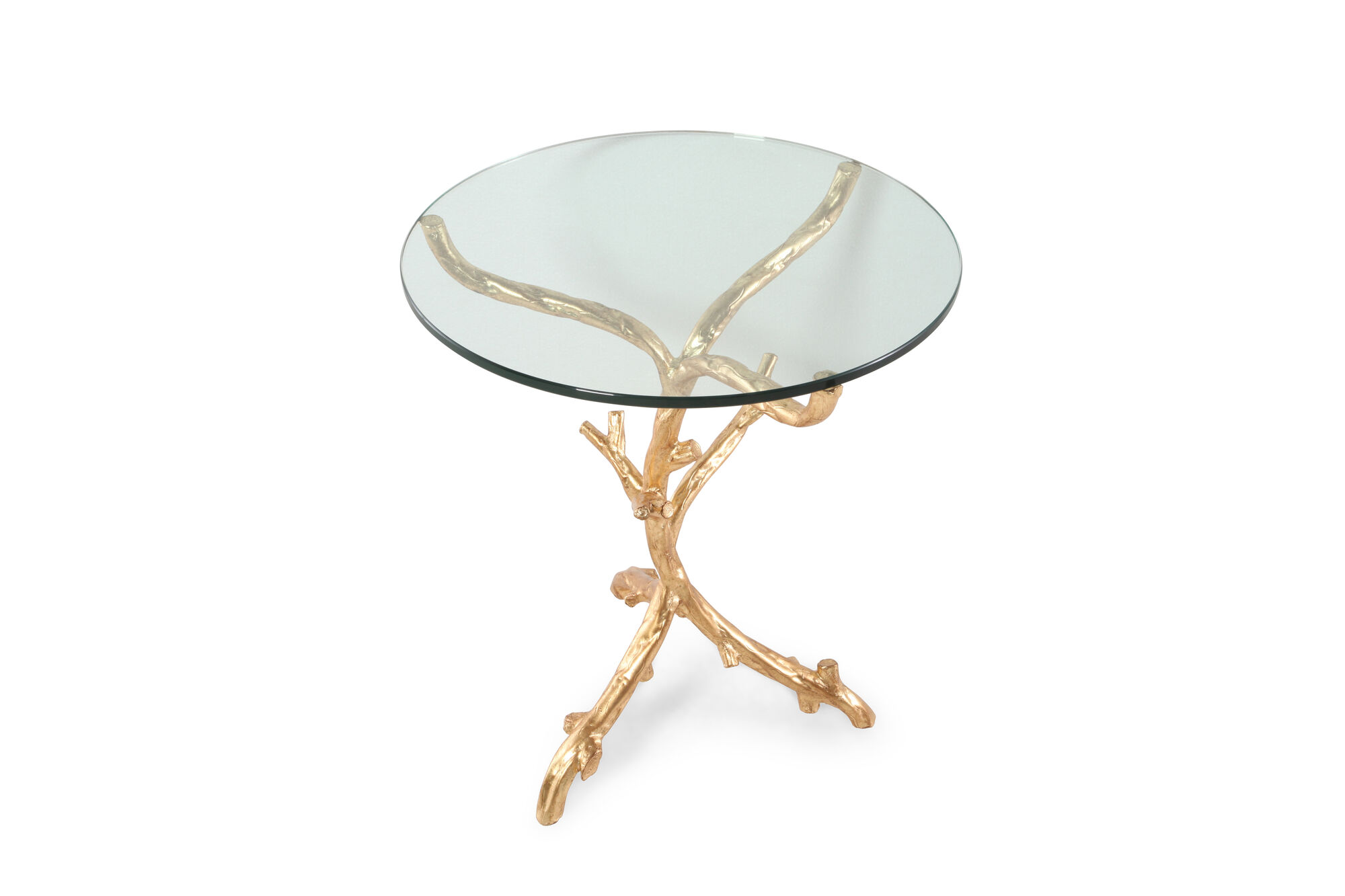 Round Tempered Glass-Top End Table In Gold Leaf