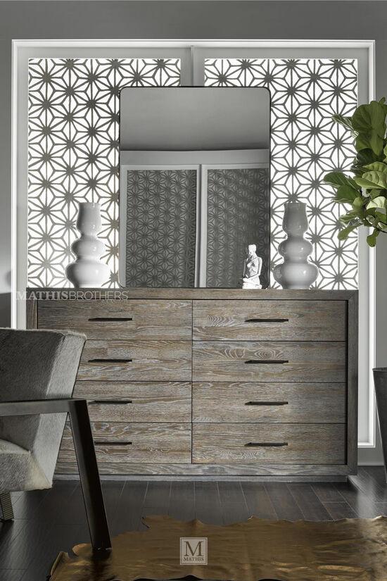 "42"" Mid-Century Modern Eight-Drawer Dresser in Charcoal"