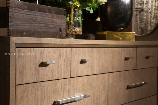 Two-Piece Modern Dresser and Mirror in Brown