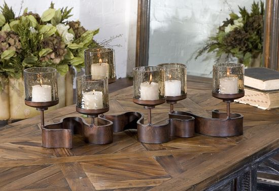 Swirled Ribbon Candle Holder in Antique Bronze