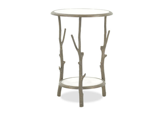 Round Transitional Accent Table in Brass