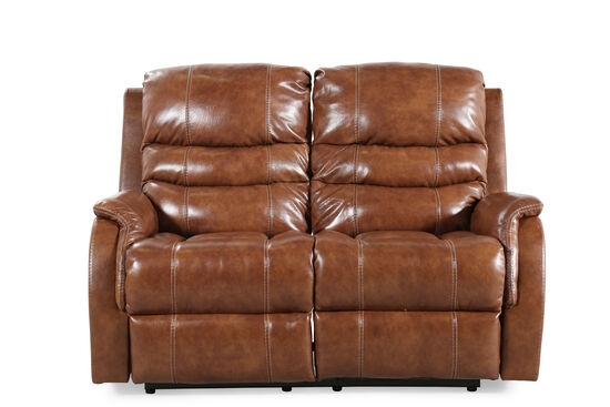 """Power Reclining Transitional 60"""" Loveseat with Adjustable Headrest in Nutmeg Brown"""