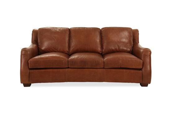 "86"" Leather Sofa in Brown"