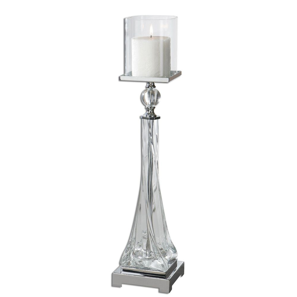 Twisted Glass Candle Holderin Polished Nickel
