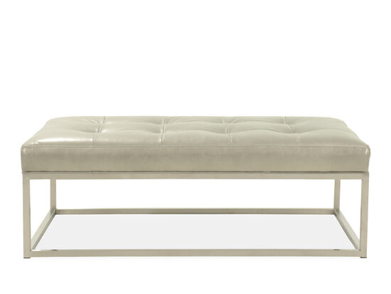 "Tufted Casual 53"" Leather Cocktail Ottoman in Metallic Nickel"