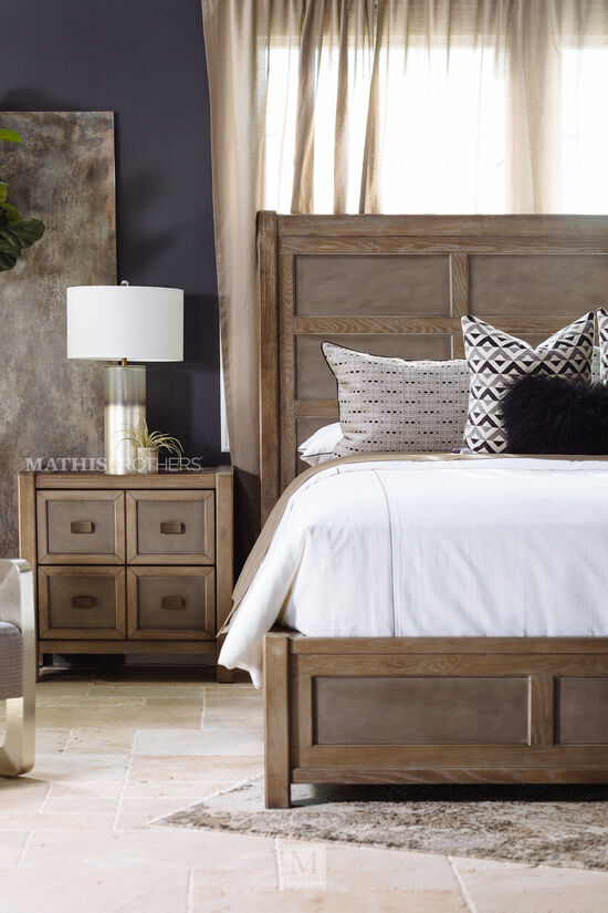 Casual Two-Drawer Nightstand in Brown